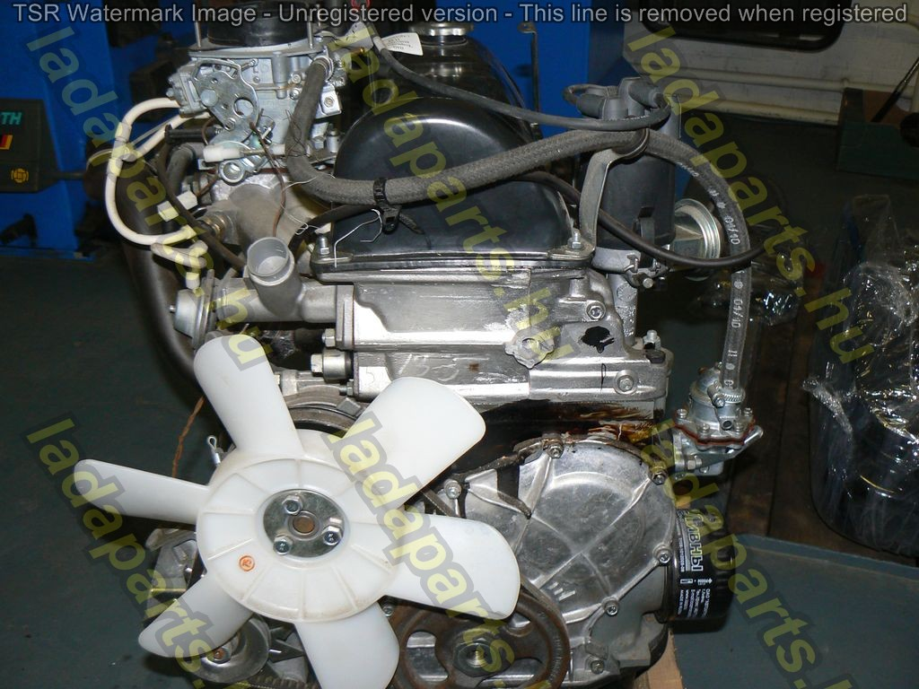 Complete engine with carburetor